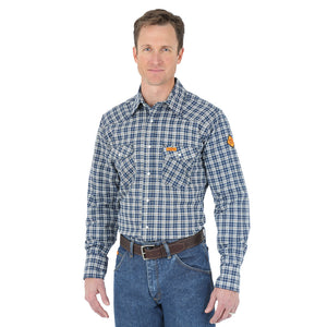 Wrangler Flame Resistant Blue & Black Plaid Shirt