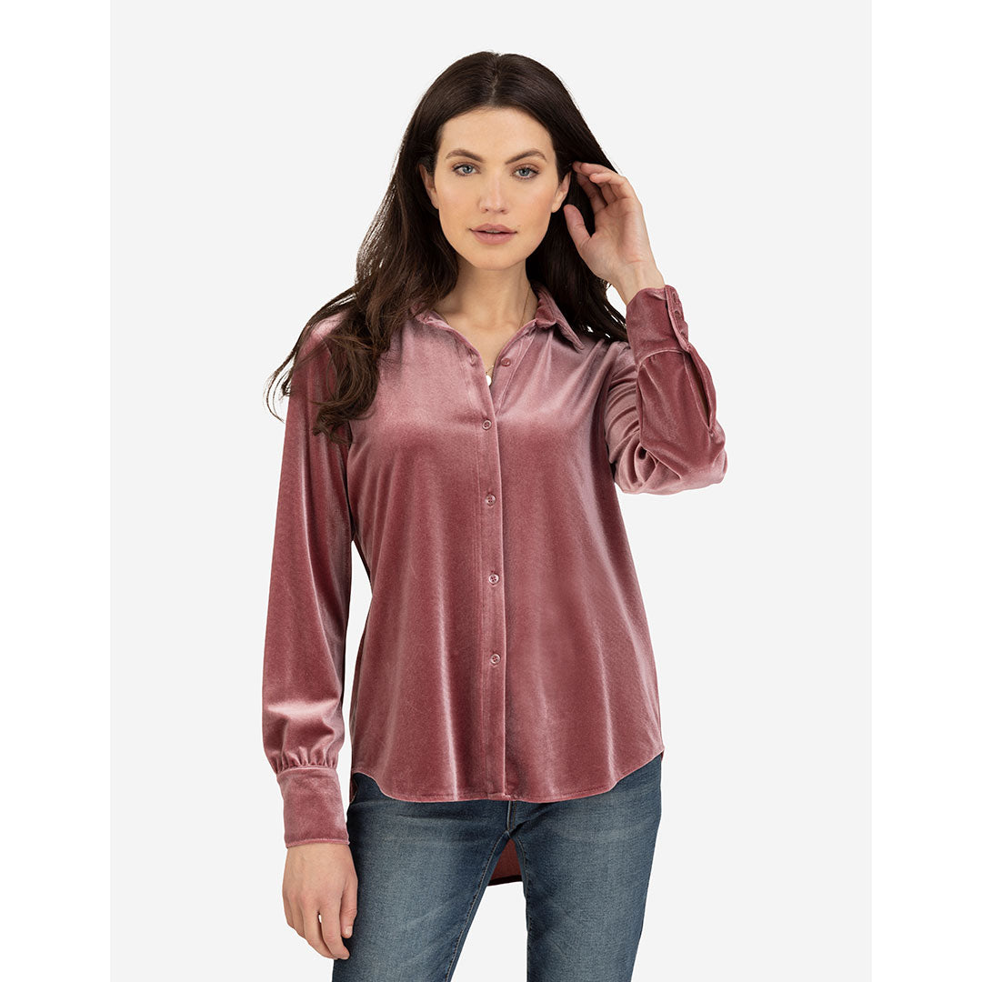 Tribal Stretch Velvet Burgundy Rose Womens Shirt