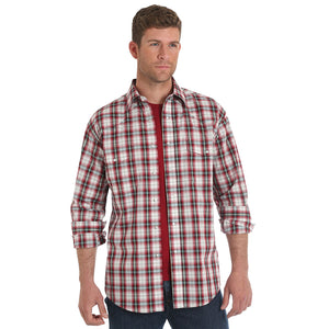 Wrangler® Wrinkle Resist Red & White Plaid Shirt