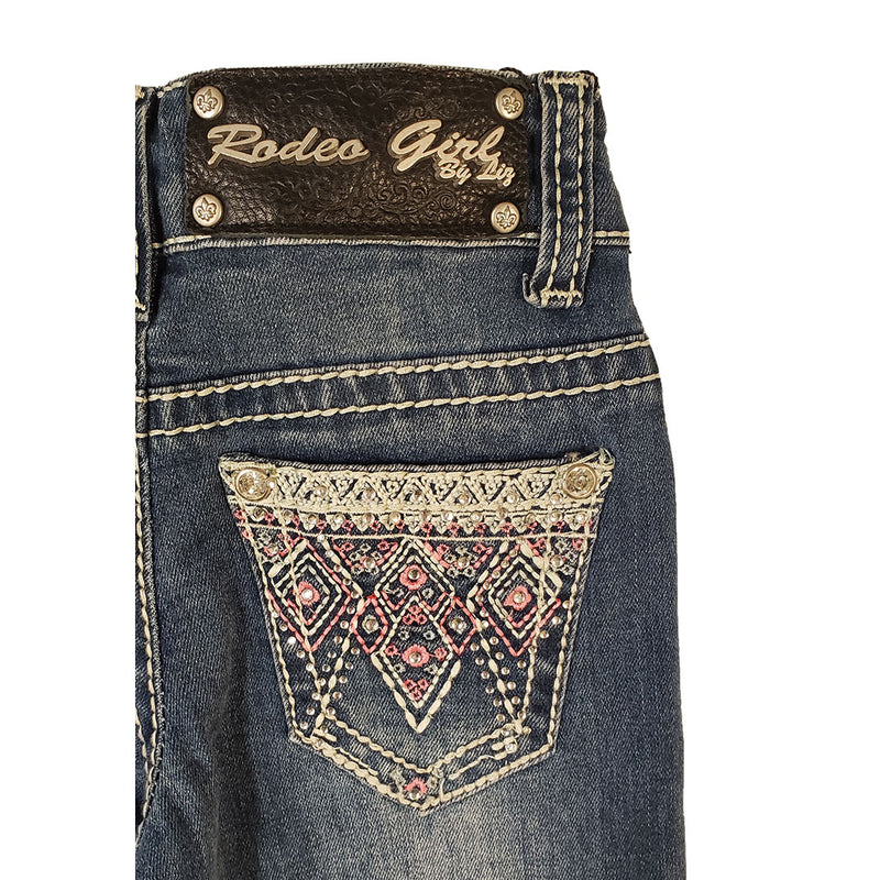 Rodeo Girl Pink & White Aztec Embroidered Girl's Jean