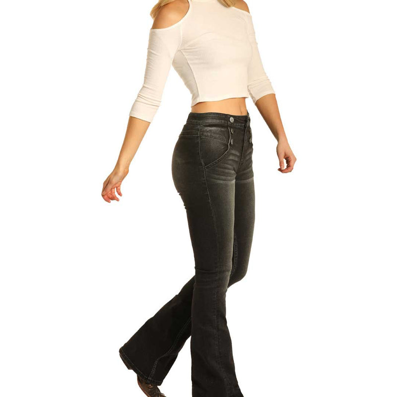 Rock & Roll Denim Women's High Rise Flared Jeans