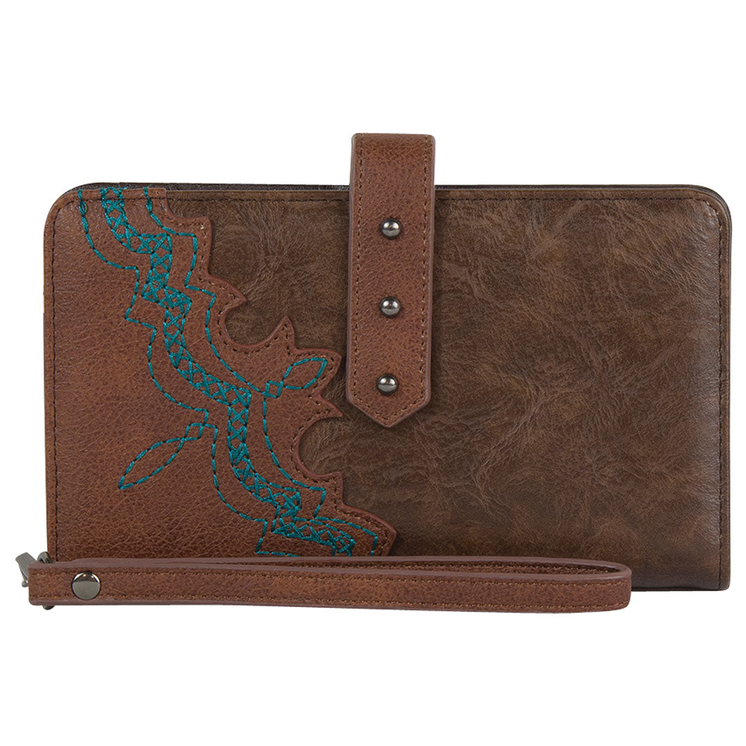 Justin Brown w/ Turquoise Stitch Detail Womens Wallet