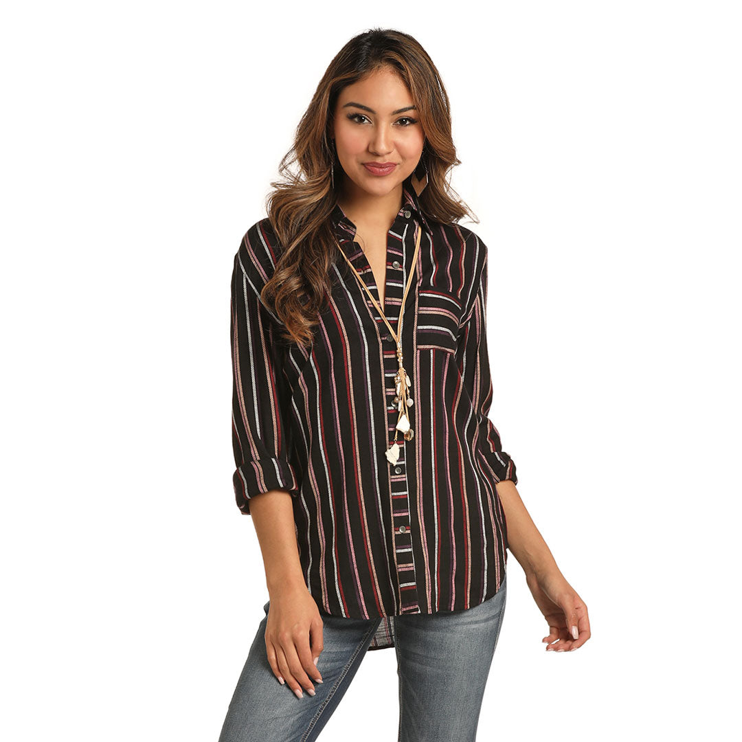 Rock & Roll Cowgirl Take No Bull Striped Womens Blouse