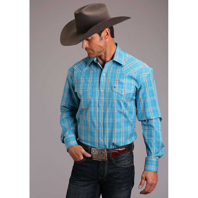 Stetson Men's  Ranch Ombre Plaid Shirt