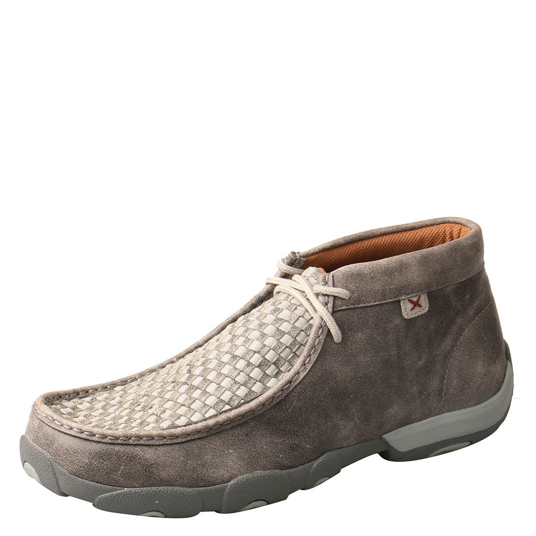 Twisted X Tan/Brown Checkered Mens Driving Moccasin Shoe