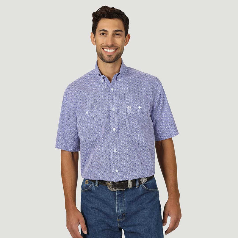 Wrangler Men's George Straight Print Short Sleeve Shirt