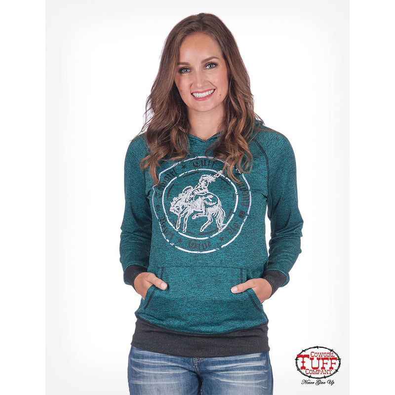 Cowgirl Tuff Turquoise Lux Jersey Hoodie