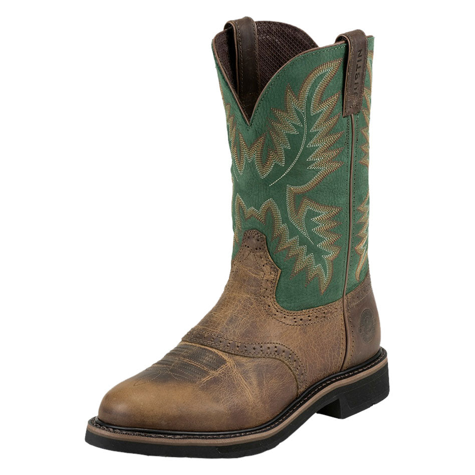 Justin Superintendent Brown & Green Cowboy Work Boots
