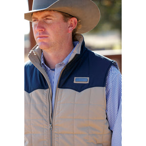 Cinch Wax Coated Quilted Khaki & Navy Mens Vest