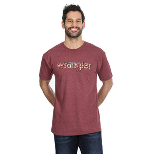 Wrangler Aztec Logo Graphic Burgundy Heather Mens Tee