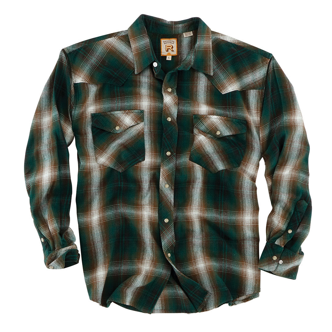 Double R Mexia Ombre Plaid Green Mens Shirt