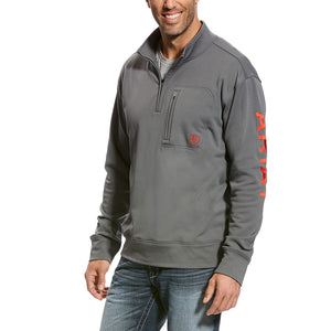 Ariat Team Logo 1/4 Zip Grey Jacket