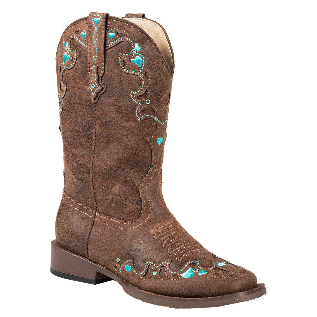 Roper Turquoise Hearts Kids Brown Cowgirl Boots