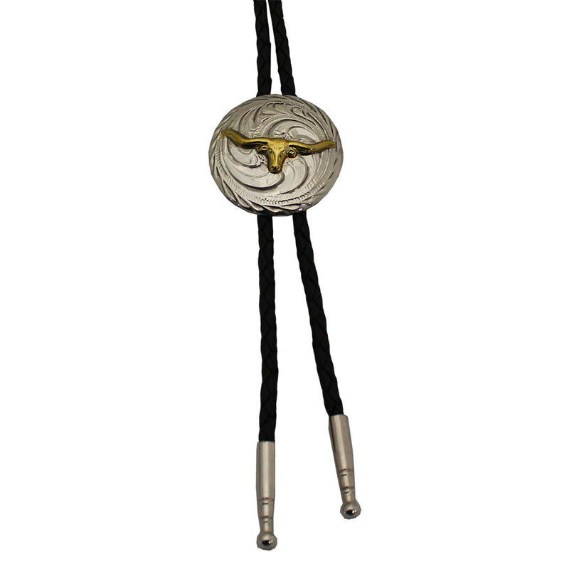 AndWest Silver & Gold Concho Bolo Tie