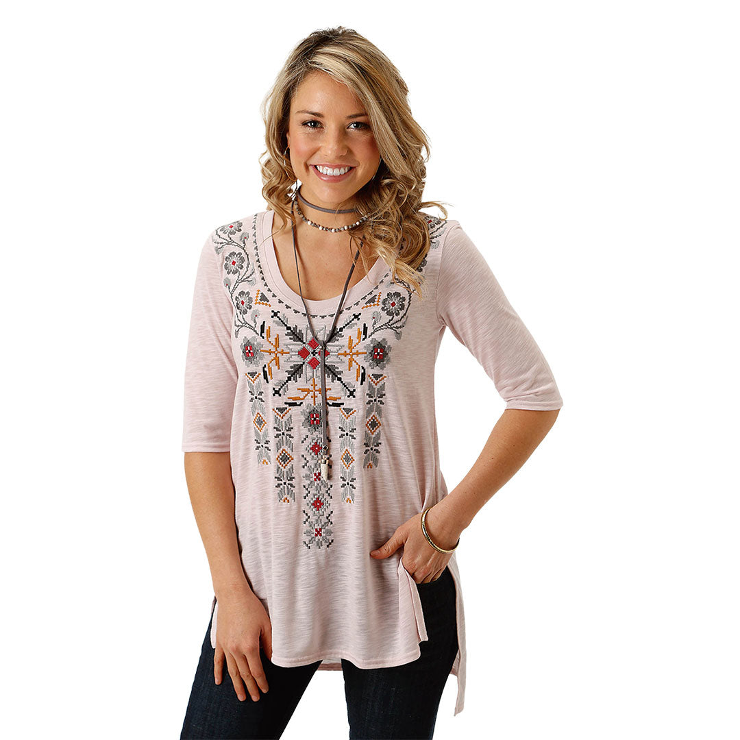 Roper Tribal Floral Pink Top
