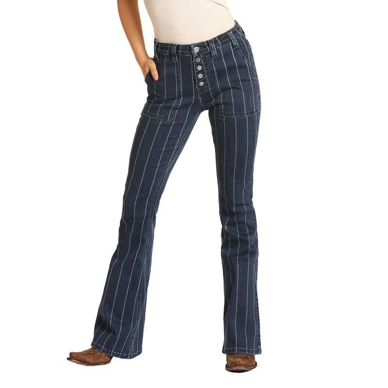 Rock & Roll Denim Women's High Rise Striped Jeans