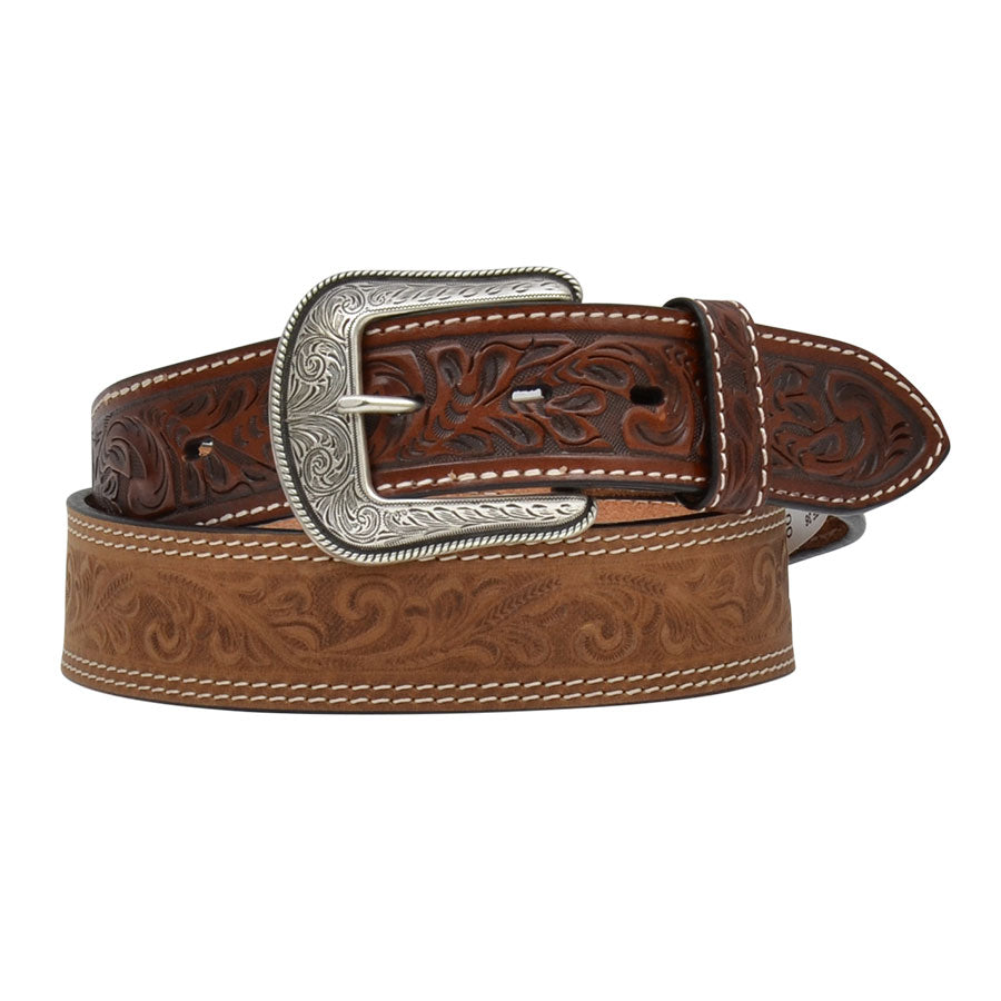 3D Belt Company Floral Tooled Brown Western Fashion Belt