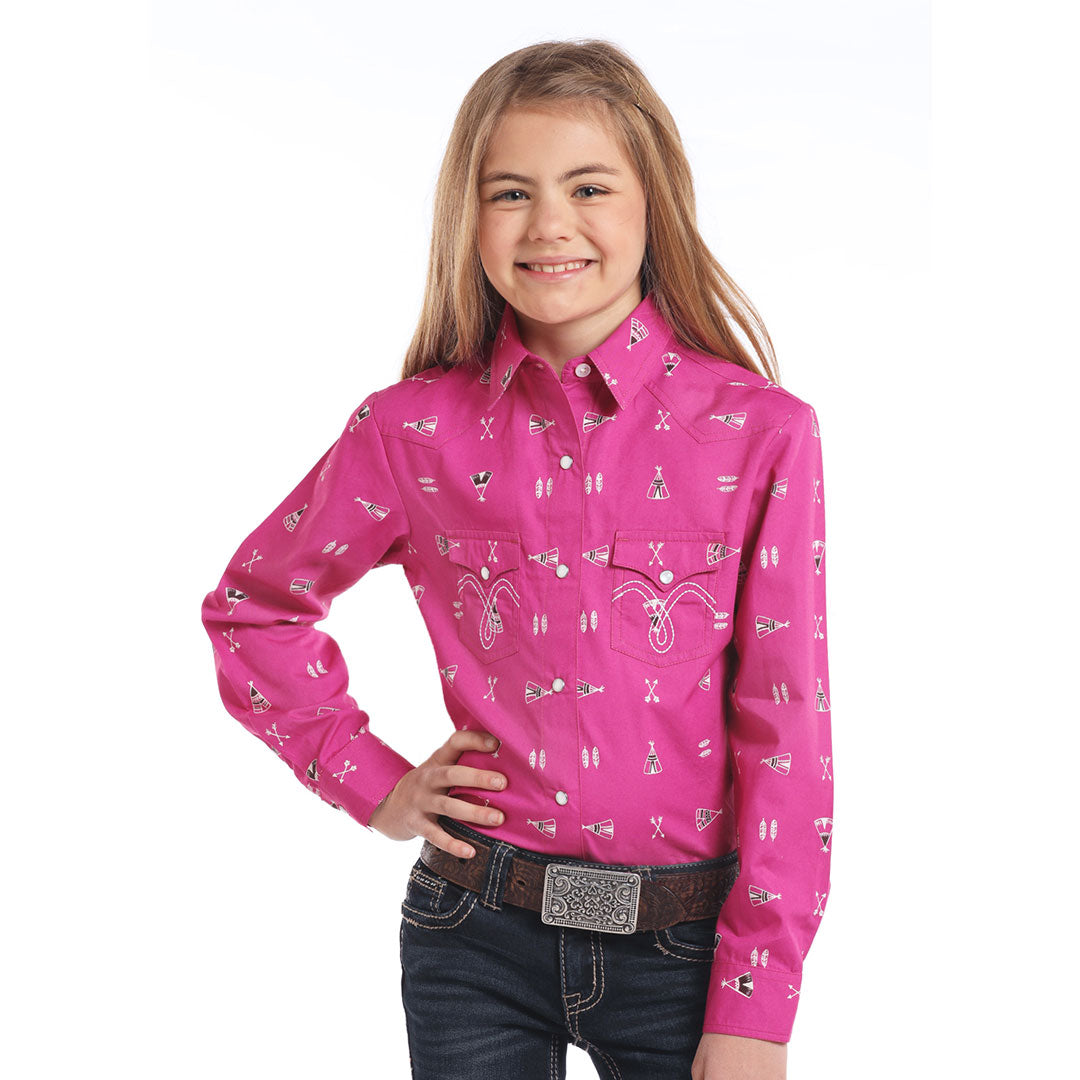 Panhandle Feather Arrow & Teepee Pink Girls Shirt