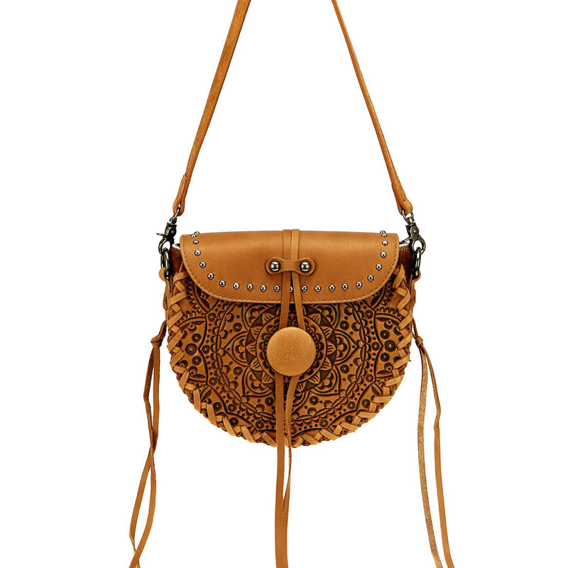 Montana West Mandala Tooled Leather & Cowhide Crossbody Bag