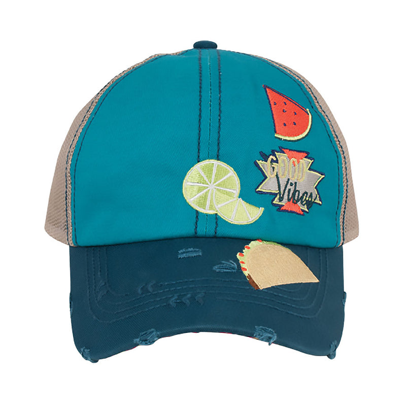 Catchfly Turquoise Good Vibes Baseball Cap