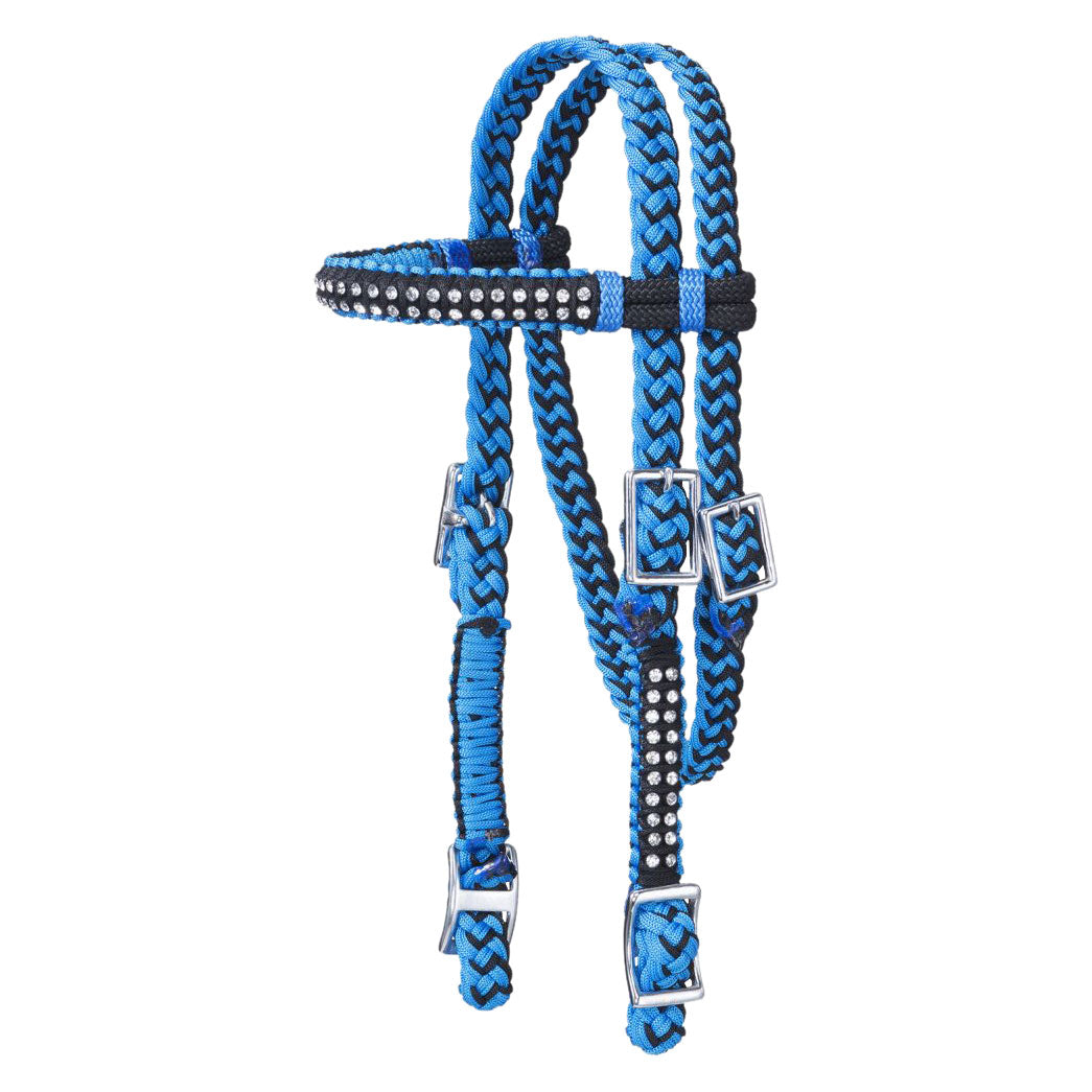 Tough-1 Mini Braided Turquoise & Black Headstall
