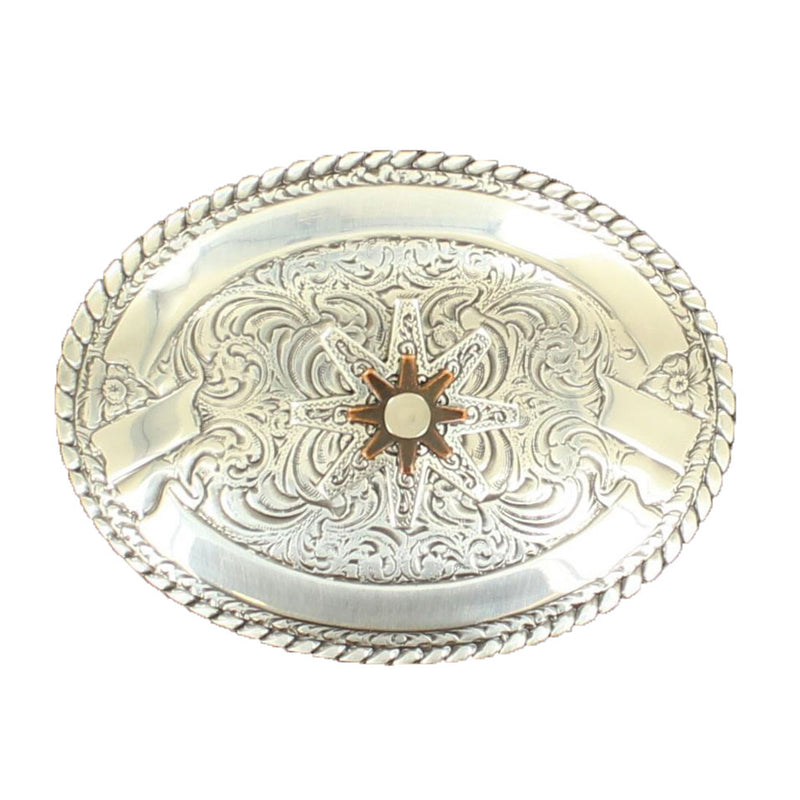 M&F Western Silver & Copper Rowel Oval Buckle