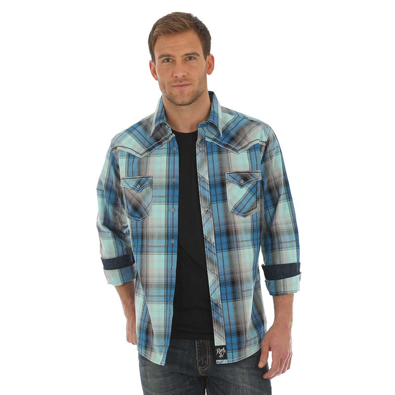 Rock 47® by Wrangler® Blue & Grey Plaid Shirt
