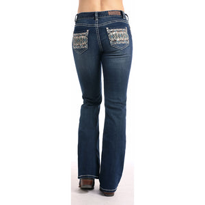 Rock & Roll Denim Diamond Embroidery Boot Cut Jeans