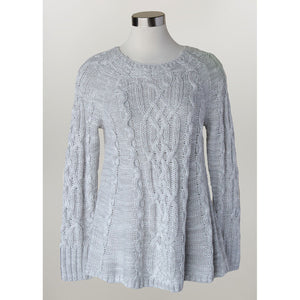 Keren Hart Cable Knit Heather Grey Womens Sweater