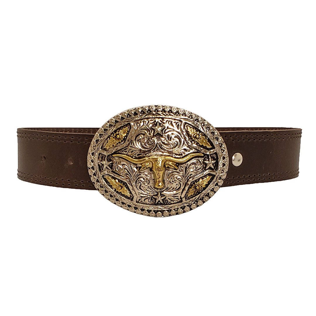 AndWest Kids Longhorn Buckle and Belt Set