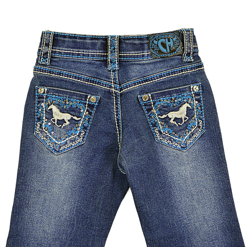 Cowgirl Hardware New Horse Wreath Medium Wash Toddler Girls Jean