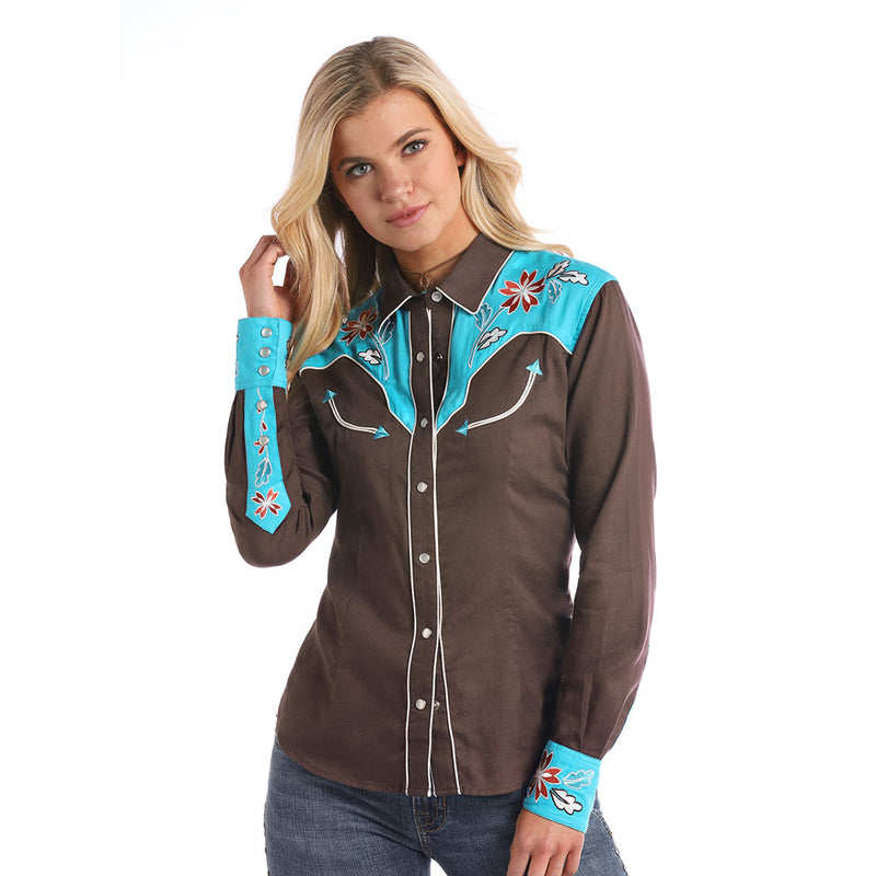 Panhandle Women's Contrast Yoke Western Shirt