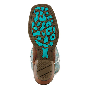 Ariat Futurity Teal, White & Brown Cowgirl Boots
