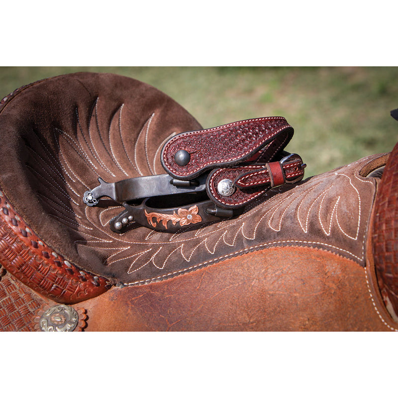 Wildfire Saddlery Women/Youth Rosewood Leather Spider Stamp Spur Straps
