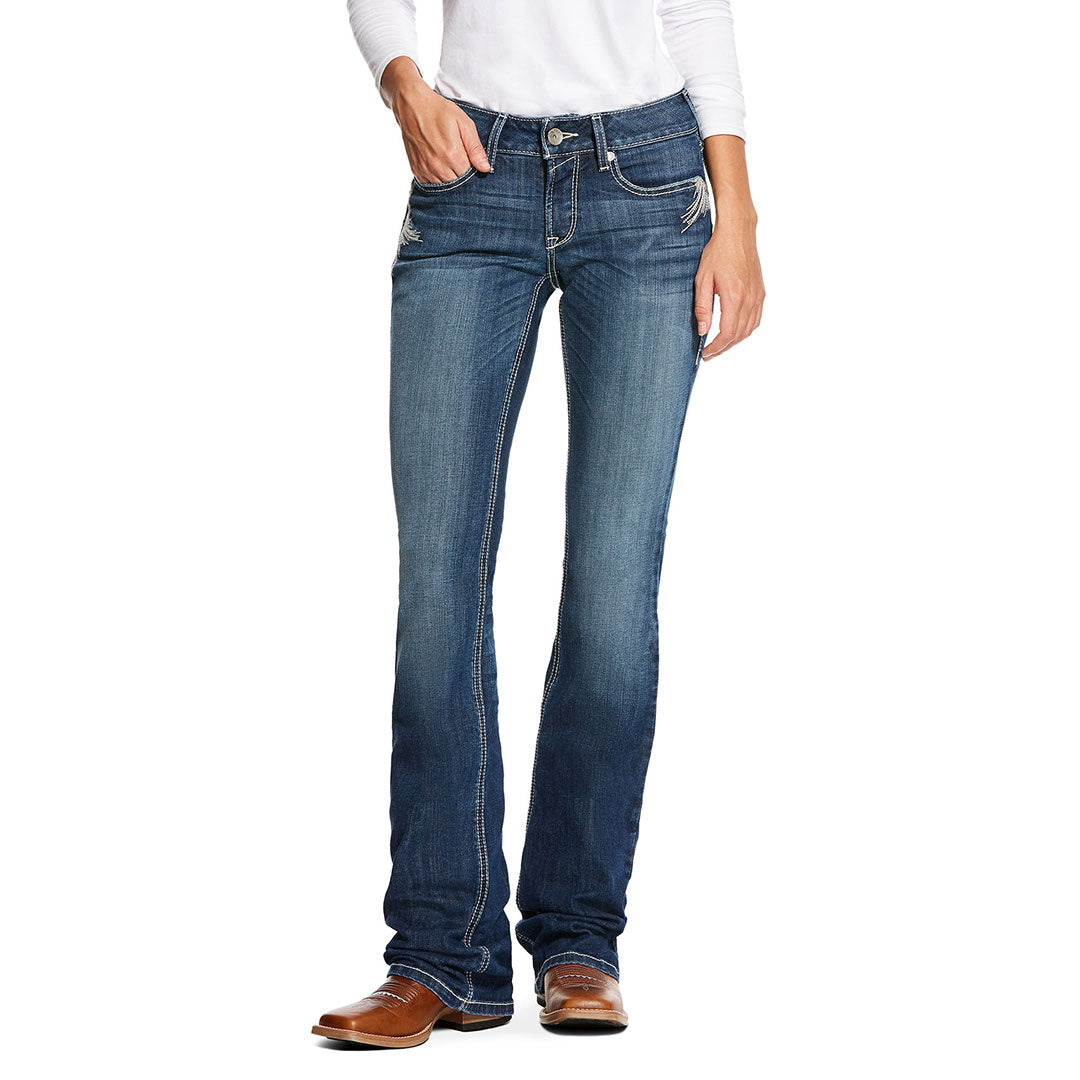 Ariat R.E.A.L. Mid Rise Stretch Shimmer Chill Blue Womens Jean