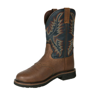 Justin Superintendent Brown & Blue Cowboy Work Boots