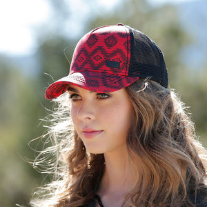Cruel Denim Red & Black Trucker Womens Cap