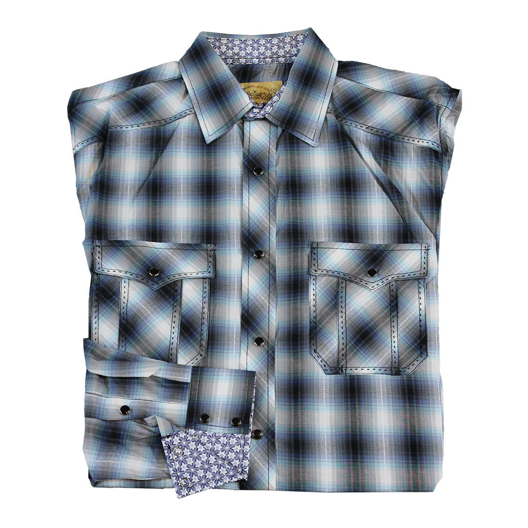 Cowboy Collection Navy & White Plaid Shirt