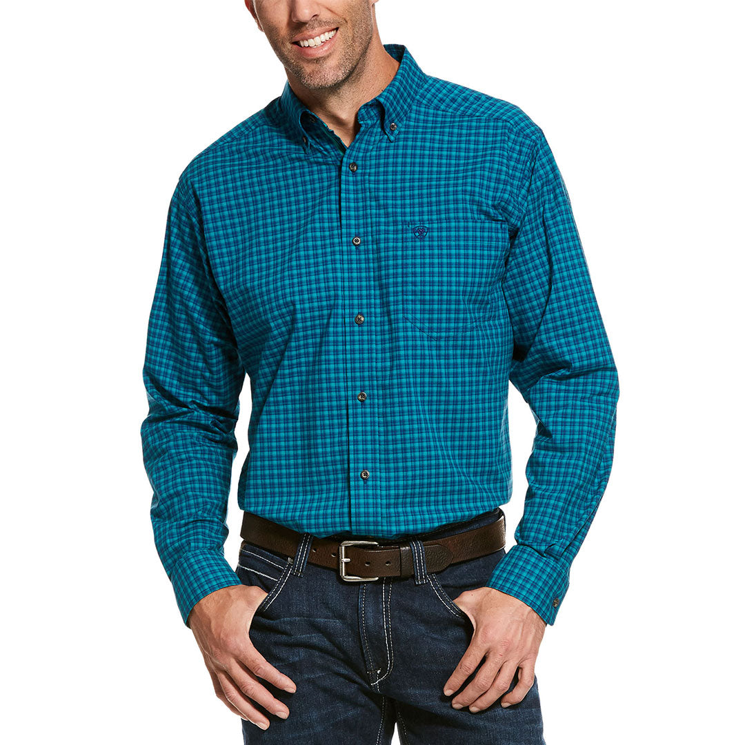 Ariat Pro Series Rolleston Stretch Blue & Turquoise Check Men's Shirt