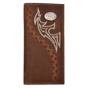 3D Brown Fancy Stitch Western Rodeo Wallet
