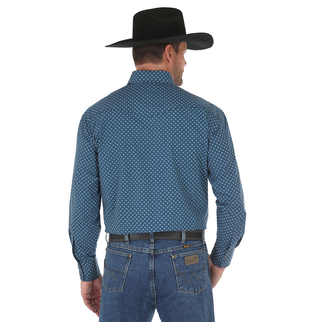 George Strait Navy & Teal Diamond Print Shirt
