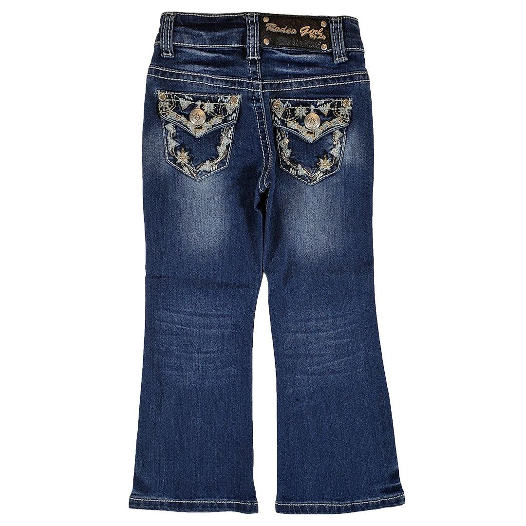 Rodeo Girl Flower Embroidered Flap Pocket Jean