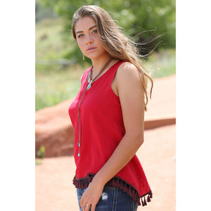 Cruel Denim Red Cross-Back Tank Top
