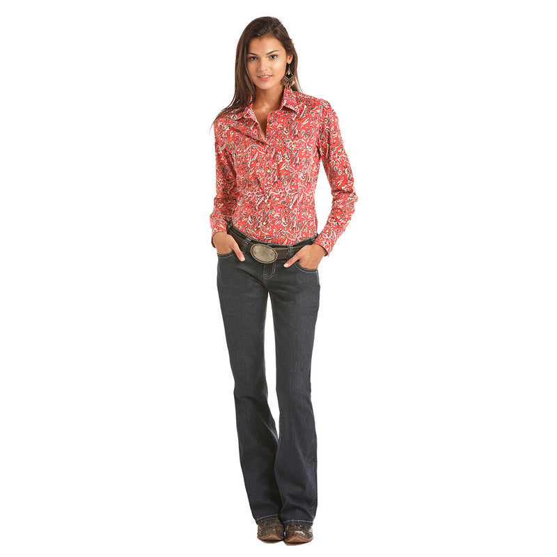 Rock & Roll Cowgirl Red Floral Print Shirt