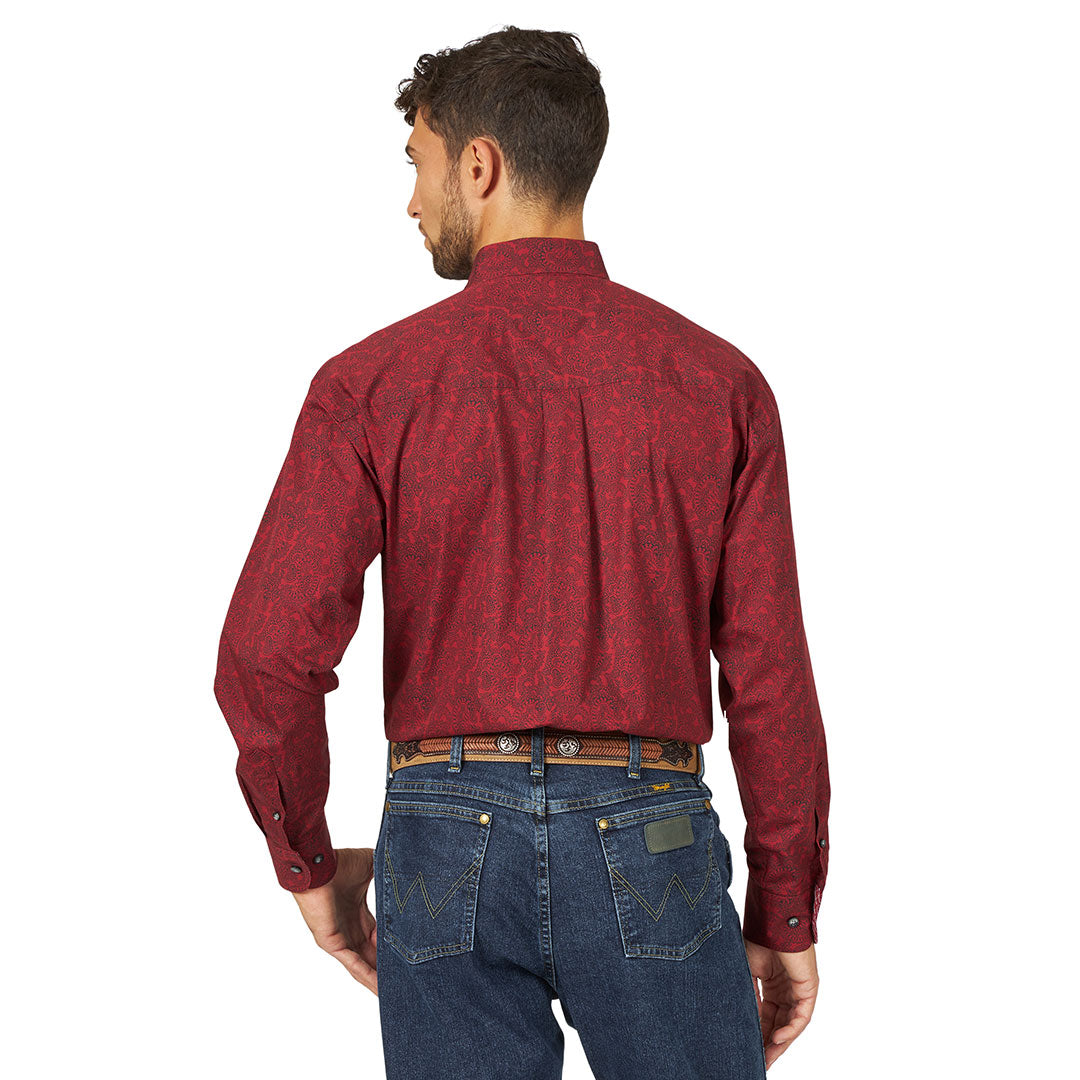 George Strait Paisley Print Burgundy & Black Mens Shirt