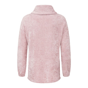 Tribal Funnel Neck Chenille Pink Womens Sweater