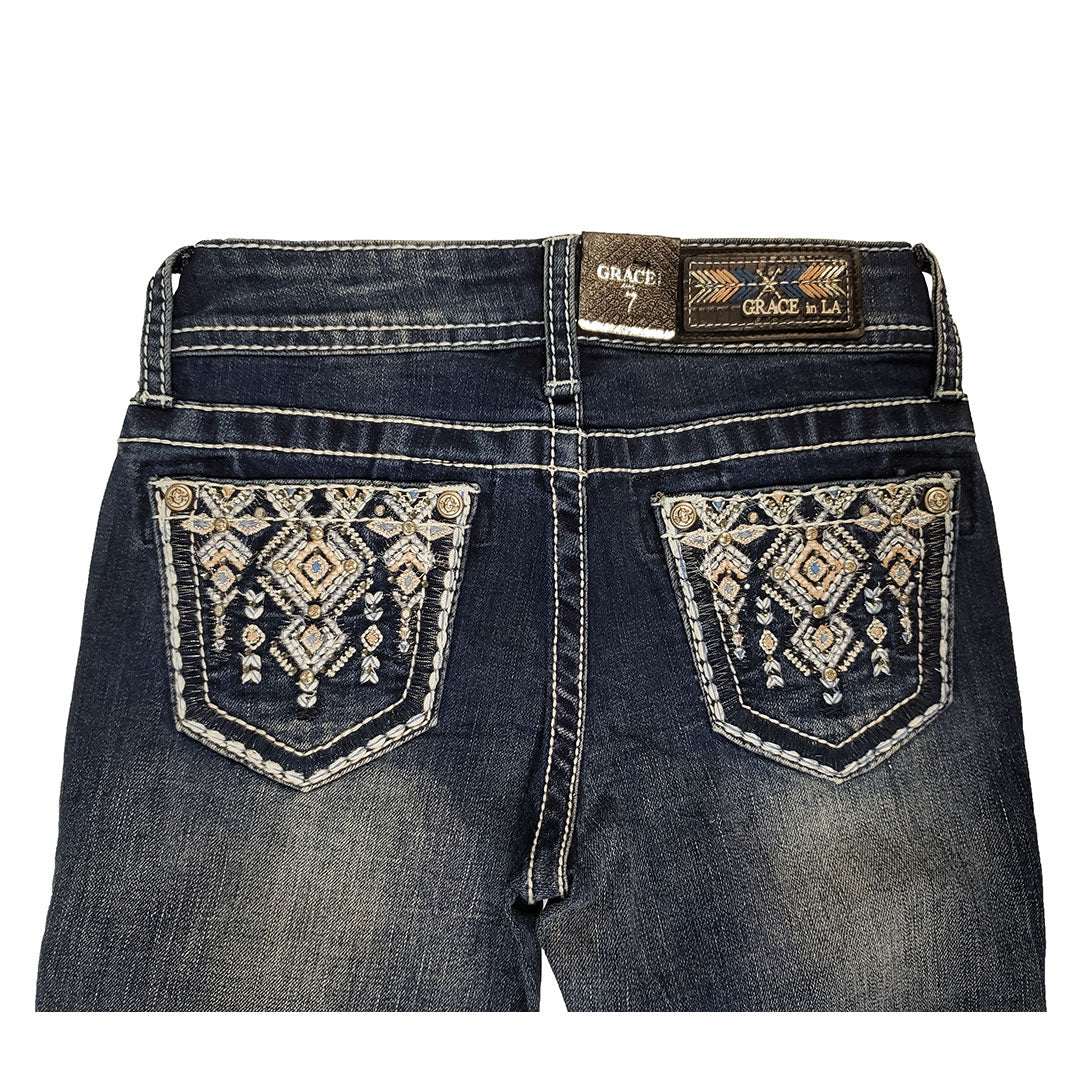 Grace In LA Aztec Embellished Bootcut Girls Jean