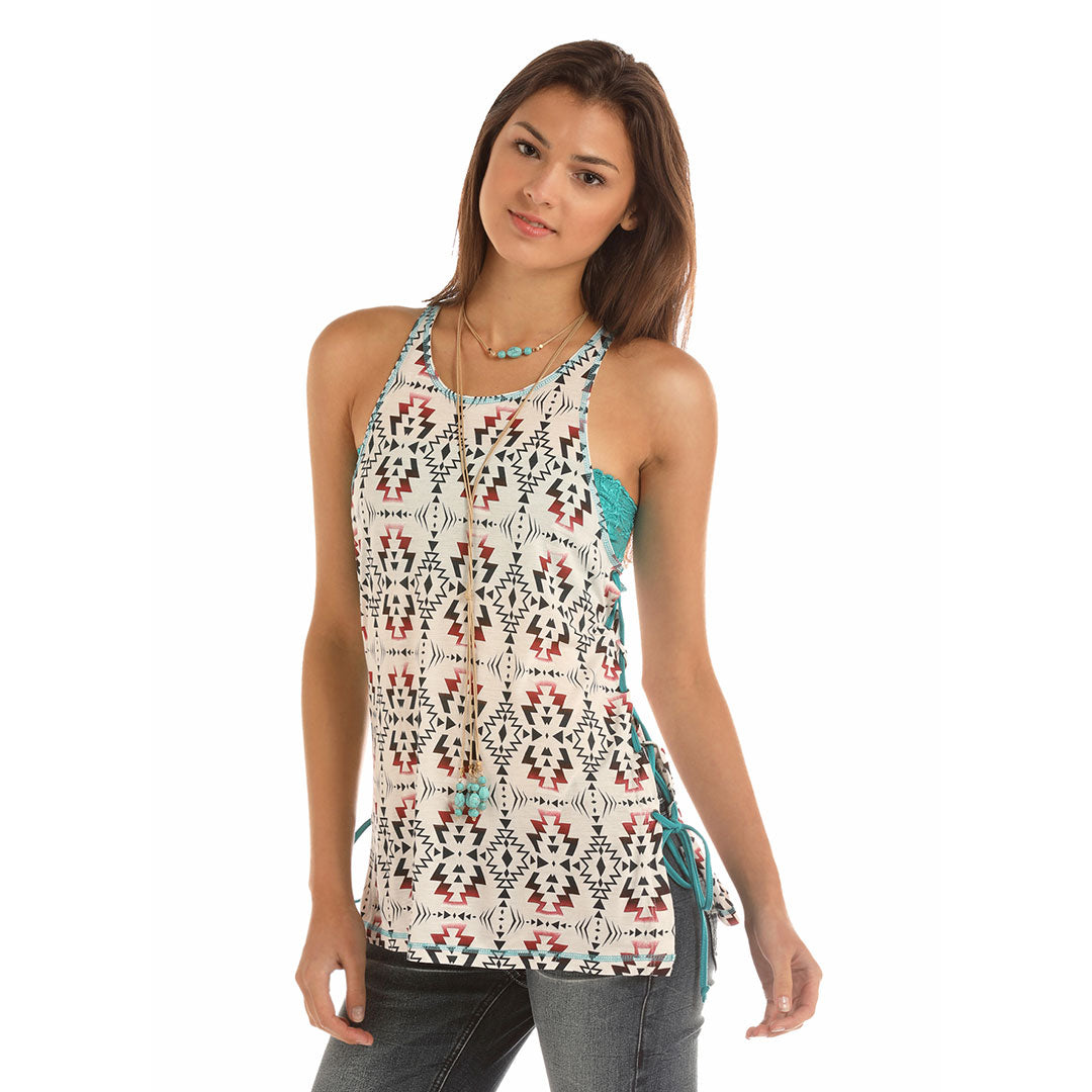 Rock & Roll Cowgirl Side Lace Up Aztec Tank