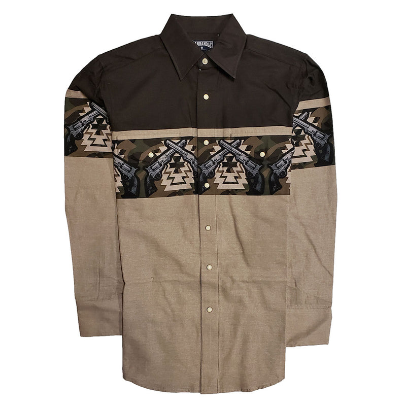 Panhandle Brown Pistol Border Print Shirt