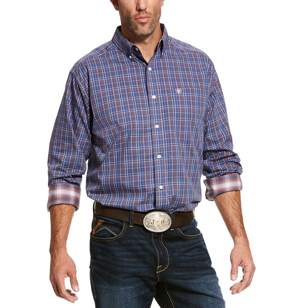Ariat Wrinkle Free Valderes Purple Plaid Men's Shirt